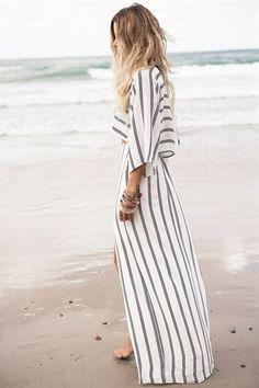 robe longue rayé, summer, spring, beach