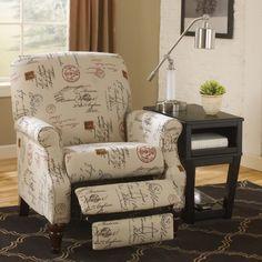 Ashley Furniture Placido Script Push-Back Recliner - Recliners at Hayneedle