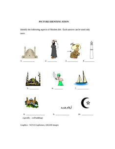 Students gain insight into Arabic culture through a short study of architecture, cuisine, vocabulary, word and picture ID games. They practice writing Arabic script, recogize monuments, and learn of Arabic legacy through trivia information.