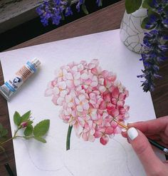 Painting Watercolor Hydrangea – shop online on Livemaster with shipping - Watercolor Cards, Watercolor Illustration, Watercolor Flowers, Watercolor Wedding, Hydrangea Painting, Watercolour Tutorials, Botanical Art, Painting & Drawing, Flower Art