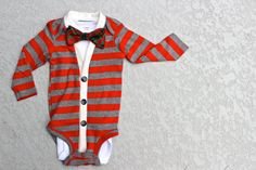 For maybe somedy/Cardigan and Bow Tie Onesie Set  Red Stripes with by HaddonCo, $40.00