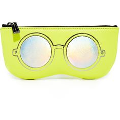 Rebecca Minkoff Mirrored Sunnies Pouch (€47) ❤ liked on Polyvore featuring bags, handbags, clutches, neon yellow, genuine leather purse, leather clutches, yellow leather purse, neon yellow handbag and rebecca minkoff handbags