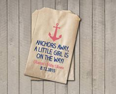 Girl Baby Shower Favor Bags, Nautical Favor Bags, Baby Shower Bags, Nautical Candy Bags, Baby Shower Candy Buffet - Coral Pink & Navy