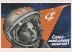 Space exploration postcard, Kershin 1963, space race, USSR Soviet poster reproduction, Tereshkova woman cosmonaut, Vostok-6 rocket by SovietPostcards Buy here: http://ift.tt/1PHc1az