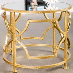 Lydia Side Table in Gold.
