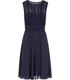 Cassis - Womens Net Overlay Dress in Navy
