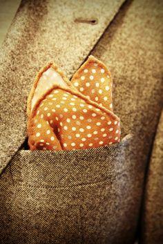 pocket square, tweed coat