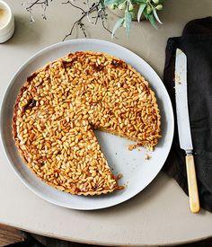 Australian Gourmet Traveller recipe for pine nut dulce de leche tart by Pinbone, Sydney.