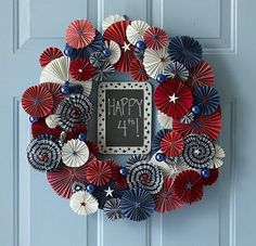 (Five) 4th Of July Wreaths You Can Make Yourself -inc. denim, yarn, felt star, & ribbon wreath ideas