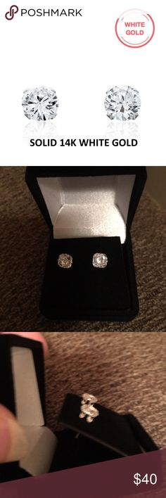 SWAROVSKI ROUND CUT STUDS NEW SWAROVSKI 2 CTW ROUND CUT ELEMENTS MEASURES APPROX 6MM SET IN SOLID 14K WHITE GOLD WITH BUTTERFLY BACKS includes black velvet gift box Swarovski Jewelry Earrings