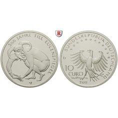 Bundesrepublik Deutschland, 10 Euro 2011, Till Eulenspiegel, D, 10,0 g fein, PP: 10 Euro 2011 D. Till Eulenspiegel. Polierte Platte… #coins