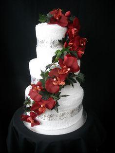 Drapped Flowers Wedding Towel Cake