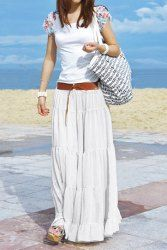 Bohemian Solid Color Loose Fit Long Style Pleated Boho Skirt For Women (OFF-WHITE,ONE SIZE)   Sammydress.com Mobile