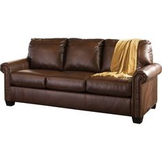 BROWN LEATHER QUEEN SIZE SLEEPER SOFA WITH MATTRESS Just $639.00 Streamlined comfort and a coolly concealed memory foam mattress offer the best of both worlds. Lottie sofa sleeper has the classic lines and curves you love covered in high-performing DuraBlend®—the look of leather without the maintenance or cost. When you want to call it a night, simply pull out the queen memory foam mattress and start dreaming.