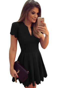 This princess style A-line dress demonstrates the perfect femme feel that will easily go from cocktail parties to wedding parties no matter what season is. This dress is crafted from cutting out scall