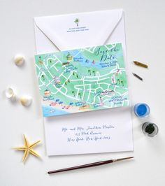 Map out the scene when designing your save the dates! (pun totally intended!) A custom wedding map illustrates the destination of your big day. #weddings #weddingideas #weddinginvites #weddinginspiration #weddinginvitations #beachwedding #destinationwedding | Mospens Studio - Unique Save The Dates For your Watercolor Seaside, Florida Wedding