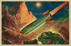 1950's sci-fi themed postcard
