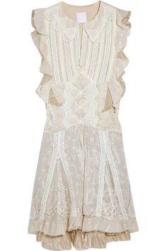 WOMEN ANNA SUI lace velvet ruffle sleeve dress size 0 $765 #ANNASUI #Cocktail