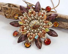Bronze & Gold Beaded Flower Pendant by BeauBellaJewellery on Etsy #flowers