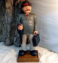 Hand carved wood Banker or Attorney in grey by WeAreOutofOurGourds, $95.00