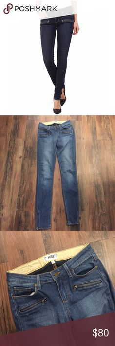 """Paige Jill Ultra Zip Vicente No Whiskers Jeans Paige Vicente No Whiskers Denim Zip Jeans.  Good condition.  Zip at ankles.  Inseam 30"""". Paige Jeans Jeans Ankle & Cropped"""
