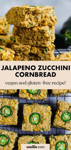 Sneak in some extra veggies with this Jalapeno Zucchini Cornbread! It's the perfect vegan jalapeno cornbread to spice up your summer cookout spread. Zucchini Cornbread, Jalapeno Cornbread, Vegan Party Food, Easy Party Food, Vegan Recipes Easy, Gluten Free Recipes, Side Dish Recipes, Side Dishes, Vegan Bread