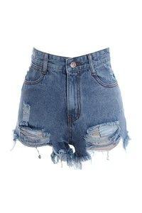 Wish   Vintage High-Waisted Ripped Jean Shorts - Vintage Destruido Cintura Alta Denim Shorts
