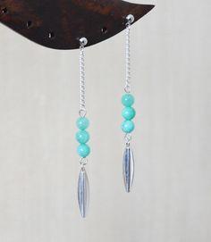Boucles d'oreille longues avec perles turquoises