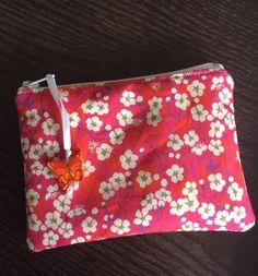 Porte-monnaie / mini pochette homemade en mitsi rose #idacouture