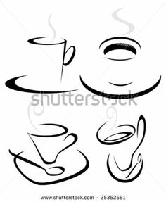 Set of stylized coffee cup variations.Vector illustration by straga, via Shutterstock