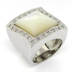 Shimmery Lozenge  Large Cocktail Ring with White Mother of Pearl  White CZs 925 Sterling Silver 9 ** More info could be found at the affiliate link Amazon.com on image.