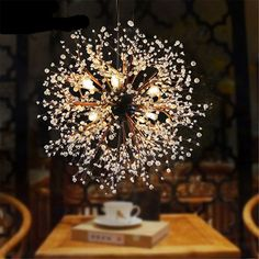Industrial hand made chandelier arts American restaurant cafe clothing store retro Nordic loft acrylic led ceiling chandeliers Cheap Chandelier, Ceiling Chandelier, Led Ceiling, Dramatic Lighting, Cool Lighting, Lighting Design, Dandelion Light, Spark Light, Diy Luminaire