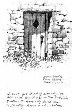 Pencil sketchbook drawing of Hawes