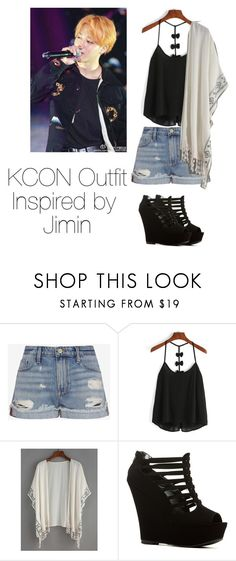 """KCON Outfit Inspired by Jimin"" by kookiechu ❤ liked on Polyvore featuring Frame Denim"