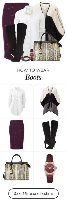"""""""~ Boot & Skirt ~"""" by pretty-fashion-designs on Polyvore featuring Elizabeth and James, rag & bone, GUESS, Tory Burch, Ralph Lauren, Banana Republic, Wittnauer, women's clothing, women's fashion and women"""