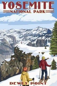 Yosemite National Park, California - Dewey Point - Lantern Press Artwork (Art Print Available), Multi California National Parks, California Art, Yosemite National Park, California Camping, Voyage Usa, Winter Outfits, Ski Posters, Retro Posters, National Park Posters