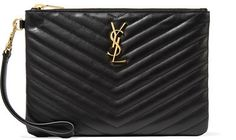 Saint Laurent - Monogramme Quilted Leather Pouch - Black