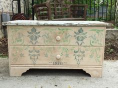 Old toy box painted with La Chaux French Lime Paint, stenciled and glazed. New wood top made from reclaimed fence wood