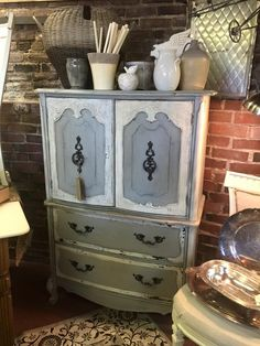 Vintage beauty freshly painted in Sweet Pickins Milk Paint in Galvanized & Flour Sack with a dark wax finish.