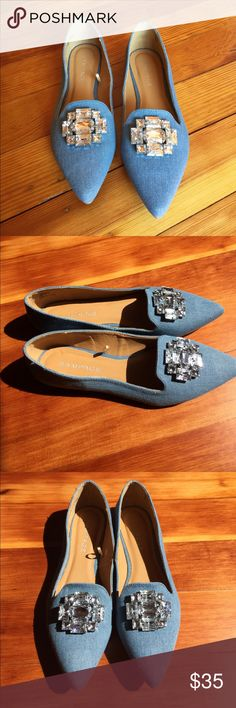 Rampage Denim Flats Beautiful for Fall Denim Rampage Flats with crystal embellishment. Size 8. Gorgeous for the office or a night out. New Without Tags or Box, but are brand new with size tag. Bundle and Save 10%!    💖Top Rated Seller & Suggest User ⭐️⭐️⭐️⭐️⭐️ Rampage Shoes Flats & Loafers