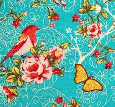 Blooms and Blossoms in Turquoise - Dutch design fabric on Etsy, $6.75