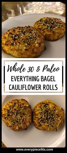 Whole 30 Everything Bagel – Roulés de chou-fleur - Regime Paleo 2019 Whole 30 Lunch, Whole 30 Breakfast, Paleo Breakfast, Paleo Meal Prep, Paleo Diet, Paleo Bread, Paleo Meals, Food Prep, Paleo Whole 30