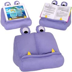 Kids ipad Tablet Holder & Book Stand * Fun Purple Book Rest for Car, Travel, Desk & Bed * Universal Monster Pillow *Ideal for Girls & Boys of All Ages: Amazon.co.uk: Kitchen & Home