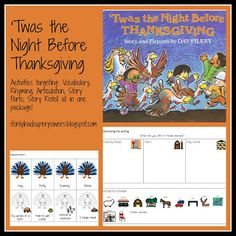 Twas the Night Before Thanksgiving: Free Materials to go with the book for speech therapy