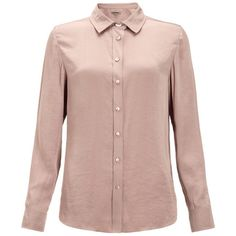 Jigsaw Classic Drape Shirt (€67) ❤ liked on Polyvore featuring tops, shirts, dusty rose, drape shirt, shirt top, brown top, drapey tops and dusty rose top
