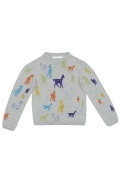 Genevieve Sweeney Hand Drawn Alpaca Illustration Children's Jumper Rainbow Defined by Genevieve's love of alpacas, the Leyre children's jumper re-imagines animal print in a modern and playful way. Illustrated by Artist (and sister) Florence Sweeney, the hand drawn illustration has been brought to life through an innovative digital printing technique. The Leyre kids sweater is…