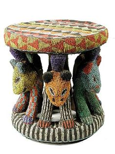 Africa    Beaded Bamileke Stool, Cameroon    Most Bamileke art (and the work of other kingdoms of the Cameroon Grasslands) relates to kings and important chiefs, who defined their power by the display of prestige objects during important ceremonies.  Glass beads embellish the most important royal stools.