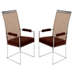 Pair of Chrome Arm Chairs by Milo Baughman   From a unique collection of antique and modern armchairs at https://www.1stdibs.com/furniture/seating/armchairs/