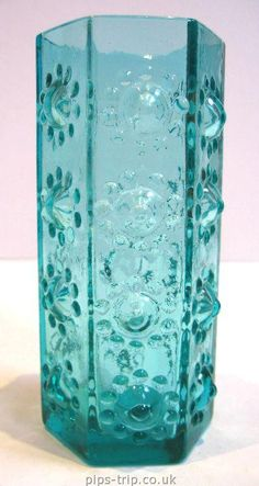 1969 DARTINGTON GLASS Kingfisher Blue Nipple Vase By Frank Thrower - SOLD GLASS ARCHIVES Find British Glass 2 Buy online