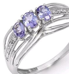 Solid 10K White Gold , Rare Tanzanite & Diamond Ring (RRP $259) Start bid only $29!